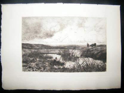 Edmond Yon 1885 Etching. Near the Coast at Cayeux-Sur-Mer, France | Albion Prints